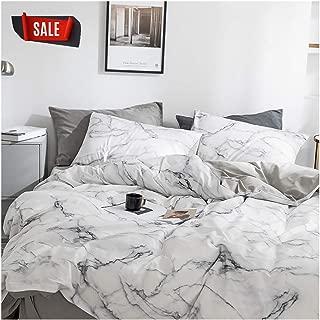 YZZ COLLECTION Queen Bedding Duvet Cover Set, Premium Microfiber,Marble Pattern On Comforter Cover-3pcs:1x Duvet Cover 2X Pillowcases,Comforter Cover with Zipper Closure (Full/Queen)