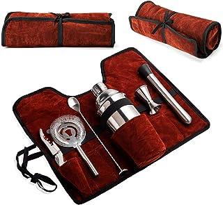 Wepikk Cocktail Shaker Set Bar Tools Mixology Bartender Kit Stainless Steel Drink Mixer Portable Carry Bag Travel Kit 25.4...