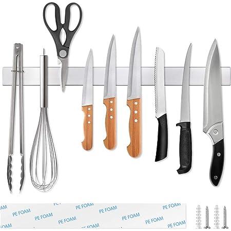 Ninonly Barre Magnetique pour Couteaux 50cm(20inch) Barre Aimantée Porte Couteaux Adhesif Porte Couteaux Magnetique Mural en Acier Inoxydable, pour Les Couteaux Ustensiles de Cuisine, et Outils