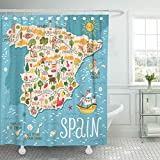 Zyduslio Red Europe Map of Spain Travel with Spanish Landmarks People Food and Plants Shower Curtain Waterproof Bathroom Decor Polyester Fabric Curtain Sets with Hooks 72x72 Inch