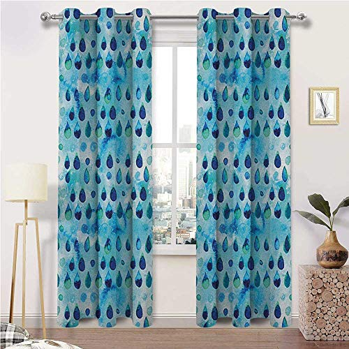 "igoga sports Curtain Panels Navy and Teal Temperature Balance Shades Abstract Blue Watercolor Drops Aquarelle Art Rain Teardrop Quirky 2 Grommet Curtain Panels, 38"" W x 45"" L"