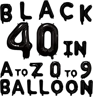 40inch Black Letter Balloons Alphabet Balloons Helium Birthday Balloons Foil Mylar for Party Engagement Wedding Anniversary Graduation Bridal Shower Bachelorette of 2019 BALLOON (0 Balloon)