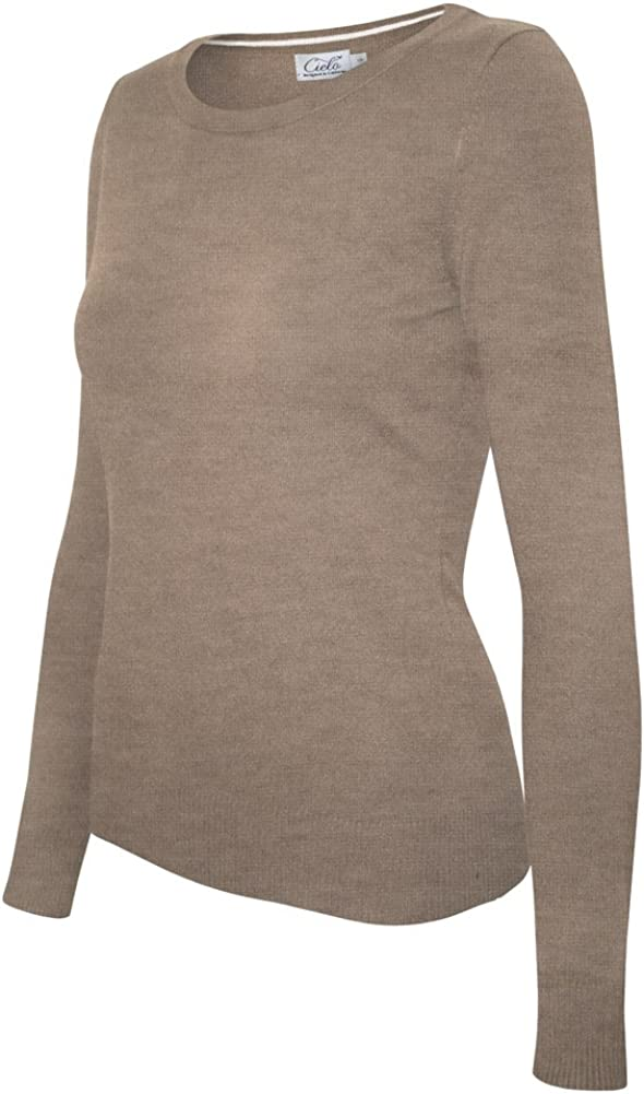 Cielo Women's Solid Soft Stretch Pullover Knit Sweater