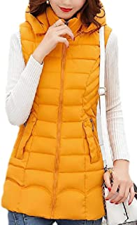 Women Mid Long Solid Hooded Zipper Warm Quilted Vest