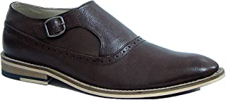 ASM Handmade Brown Leather Single Buckle Monk Shoes with Handmade Neolite Sole for Men.