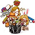 Wedding Photo Booth Props Kit - 38 Pieces with Wooden Sticks - Carpediem Party Prop Essential Vol.1