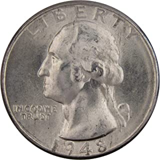 1948 D 25c Washington Silver Quarter US Coin Uncirculated Mint State