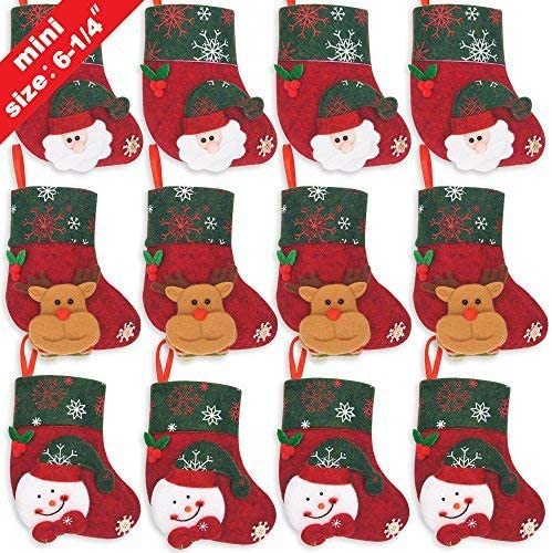Ivenf Christmas Mini Stockings, 12 Pcs 6.25 inches Felt with 3D Santa Snowman, Gift Card Silverware Holders, Bulk Tre...