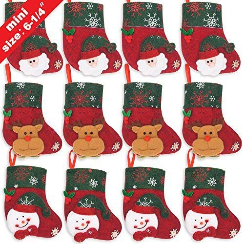 Ivenf Christmas Mini Stockings, 12 Pcs 6.25 inches Felt with 3D Santa Snowman, Gift Card Silverware Holders, Bulk Treats for Neighbors Coworkers Kids Cats Dogs, Small Rustic Red Xmas Tree Set