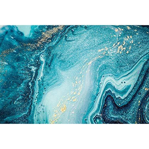 LNMHV Azul océano Dorado Brillo Lienzo Cuadro océano Abstracto Arte de la Pared póster Impresiones Moderno para Sala de Estar decoración Mural Imagen 60x80cmx1 sin Marco