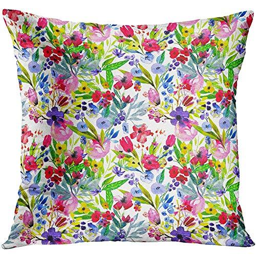 MJDIY Cushion Cover,Acuarela Floral Abstracta Azul con Amapolas Rojas