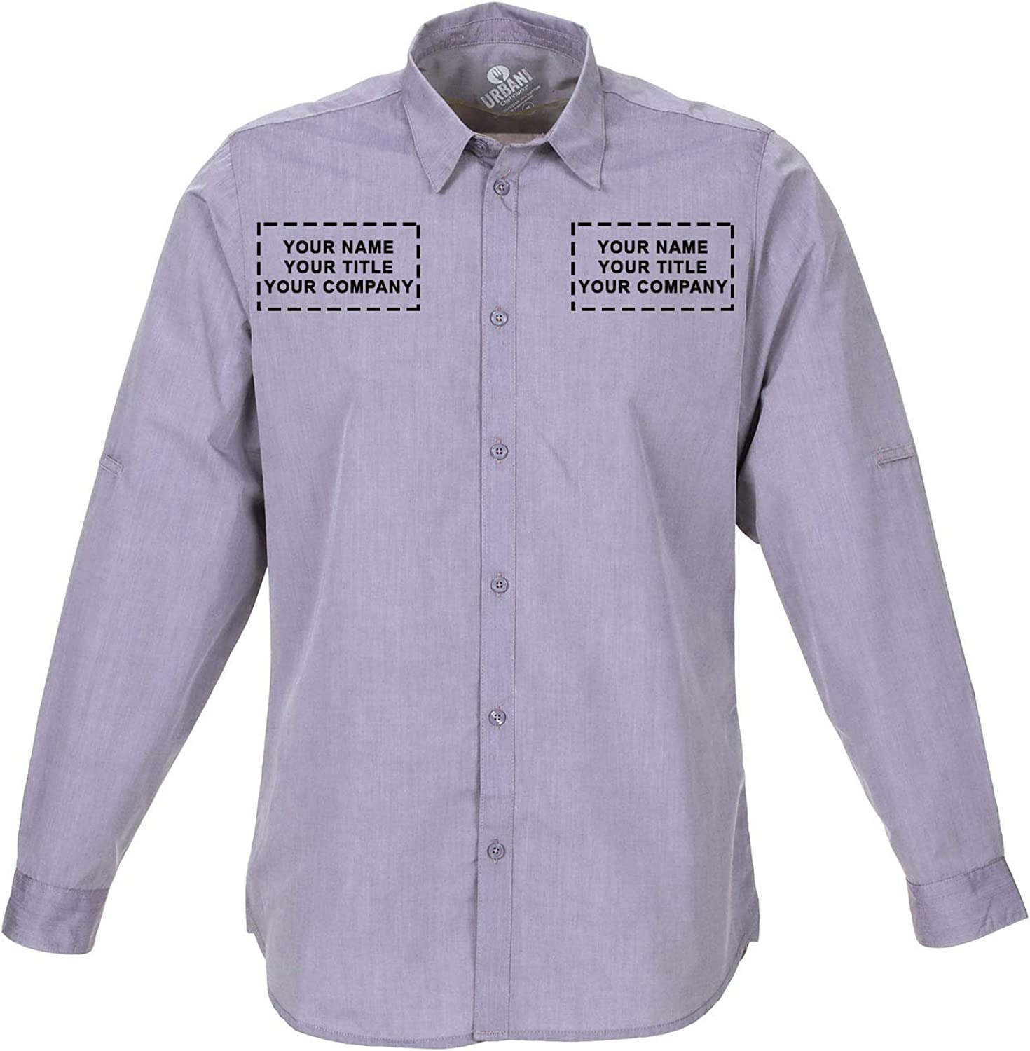 Chef Works Custom Embroidered Mens Modern Chambray Dress Shirt