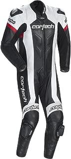 Cortech Adrenaline Men's 1-Piece Leather Street Racing Motorcycle Race Suit - Black/White / 2X-Large