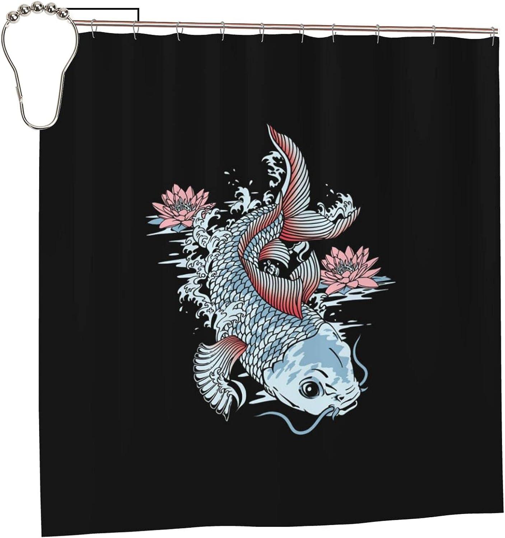 Fish sale Swims Lotus Printed Waterproof Hotel Curtain Shower Soldering Qualit