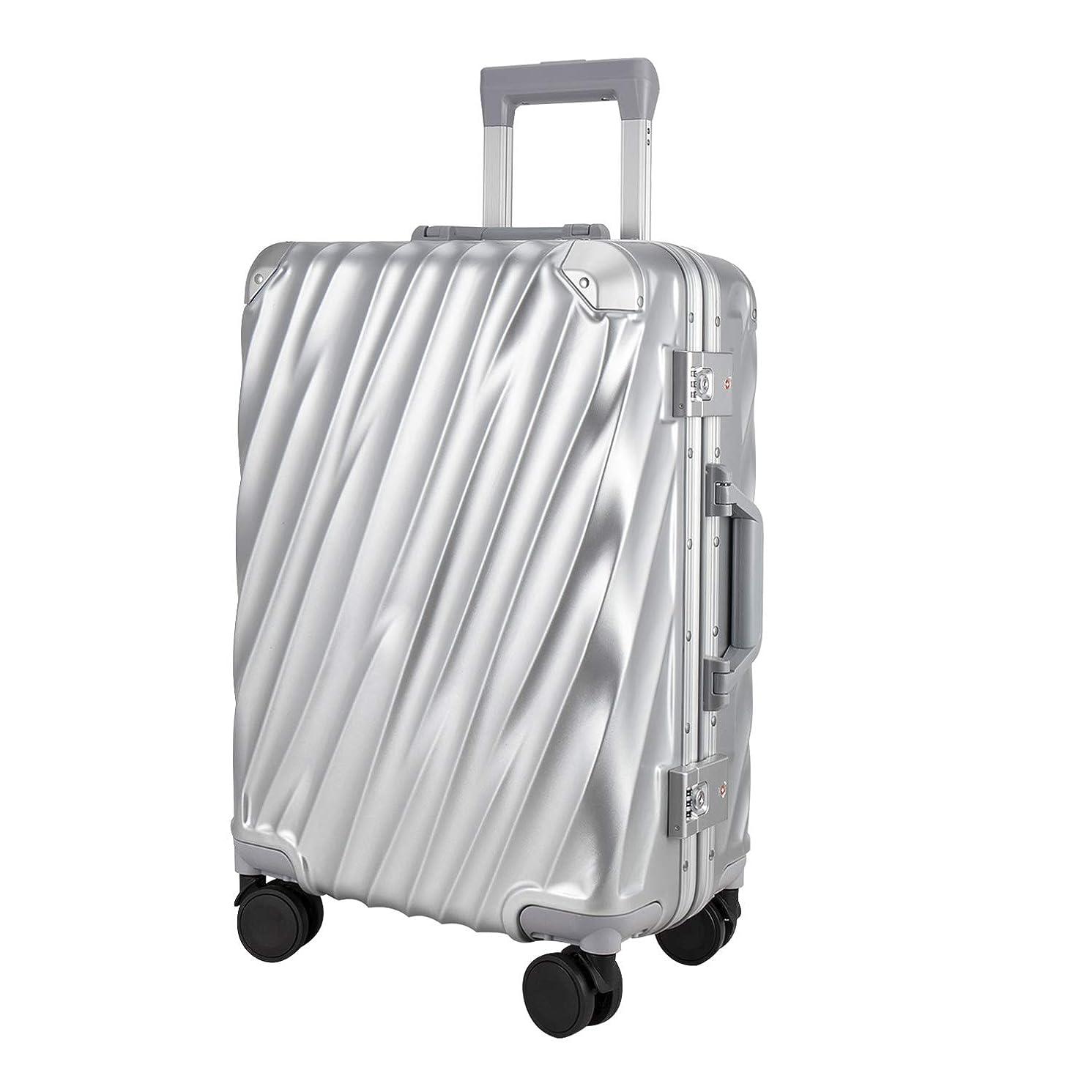 スーツケース キャリーケース タイヤ静音設計 出張TSAロック付き軽量 PC+ABS 旅行用 シルバー&ブルー 機内持ち込み&4~6日宿泊用 SサイズとMサイズ選択可能