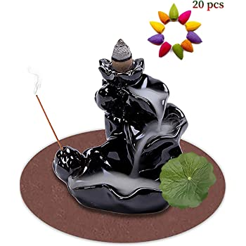 DK177 Waterfall Incense Holder Backflow Cone Ceramic Burner Handcrafted Porcelain Censer Inscent Stick Stand with 20 Free Cones Sets