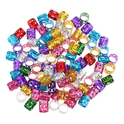 Gazechimp Mehrfarbig Dreadlocks Perlen bunte Metallperle Braids Perlen Haarschmuck Flechten Haarperlen, 150 Stück