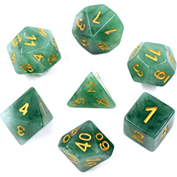 HDdais Polyhedral DND Dice Sets 7-Die Jade Dice for Dungeons and Dragons Pathfinder DND RPG MTG Table Gaming Dice