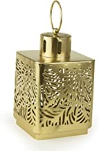 Rosymoment 30540-P-P Arabic Candle Holder Lantern with Hanging Loop, Gold, 10.0 cm x 10.0 cm x 17.0 cm