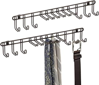 mDesign Metal Wall Mount Closet Storage Organizer Rack for Bedroom, Closet, Entryway - for Mens/Womens Ties, Belts, Slim Scarves, Jewelry, Accessories - 6 Large Hooks, 6 Small Hooks - 2 Pack - Bronze