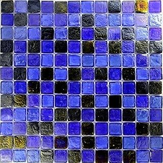 Blue Pewter Blend Glass Tile Mosaic, Textured Iridescent Glass Tile 1