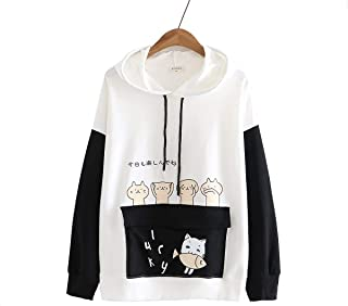 TieNew Girl Hoodie Cute cat Print Sweater Student Girl Hooded Thick Coat top