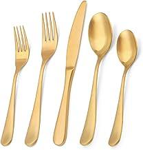 Matte Gold Silverware Set, Bysta 20-Piece Stainless Steel Flatware Set, Kitchen Utensil Set Service for 4, Tableware Cutle...