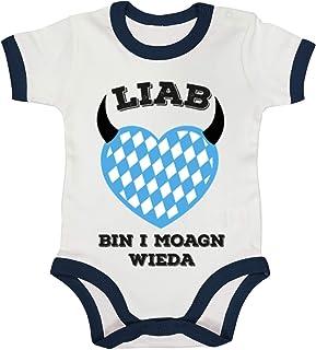 ShirtStreet Gaudi Wiesn Ringer Strampler Baumwoll Baby Body kurzarm Jungen Mädchen Oktoberfest - Liab bin i moagn wieda