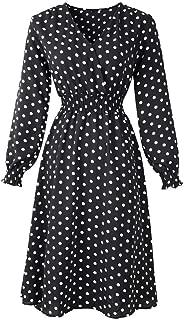 Mayunn Women Fashion Long Sleeve V Neck Holiday Print Evening Party Prom Dress Midi Dresses (S-2XL)