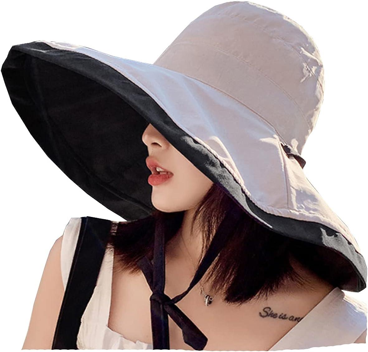 2 in 1 Womens Sun Hat Wide Brim Summer Hat Foldable Roll up Floppy Beach Hats for Women