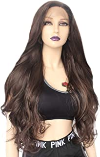 Ebingoo Dark Brown Synthetic Lace Front Wig with Side Part Glueless Long Natural Wavy Heat Resistant Fiber Hair