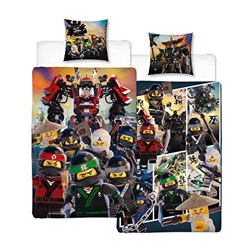 BERONAGE Wende Linon Kinder Bettwäsche Lego Ninjago Action 135 x 200cm + 80 x 80cm - 100% Baumwolle - Cole - Jay - Kai - Lloyd - Zane - NYA - Misako - Sensai Wu - deutsche Größe