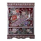 HAIHF Holz Schmuck Box, chinesische Aufbewahrungsbox, Kunsthandwerk, Schmuck Aufbewahrungsbox, Dressing Box, Lackwaren, Vase Vintage Jewellery Box, Painted Lacquer Crafts...