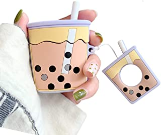 UnnFiko Super Cute Bubble Tea Airpods Case, 3D Cartoon Soft Silicone Protective Mini Bag Cute Creative Airpods1 & 2 Charging Cover with Finger Loop (Purple, Airpods1 & 2)