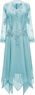 Tea Length Mother Of The Bride Dress Lace Evening Gowns With Jacket