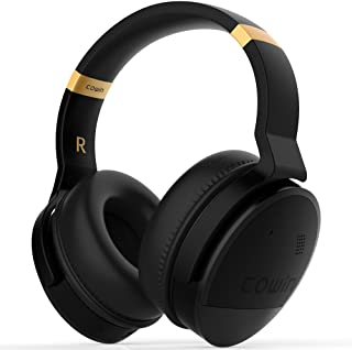 COWIN E8 [Upgraded] Active Noise Cancelling Headphones Bluetooth Headphones with Microphone Wireless Headphones Over Ear - Black (Renewed)