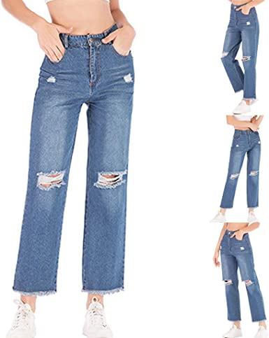 MOVERV-Pantalones Cropped Vaqueros Mujer,Jeans Azul Straight ...