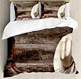 Ambesonne Western Duvet Cover Set, American West Rodeo Traditional Straw Cowboy Hat Leather Boots Print, Decorative 3 Piece Bedding Set with 2 Pillow Shams, King Size, Brown Tan