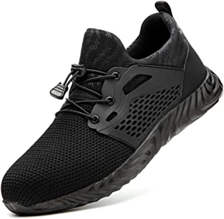 Tobocoy Steel-Toe Shoes Men Women Work Safety Indestructible Shoes Composite Toe Industrial Construction Comfortable & Breathable Shoes Puncture Proof Sneakers