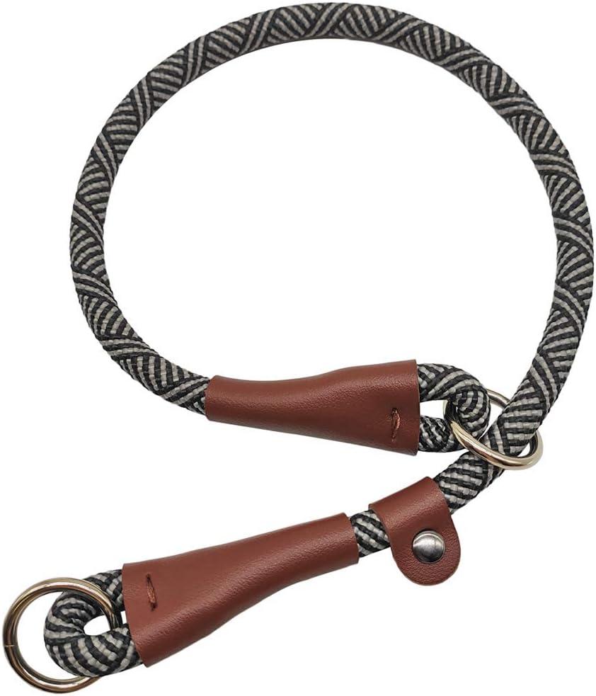"Round Nylon Rope Collar 1//2/"" x 24/"" Blue SEPXUFORE Slip Collar Dog Training Chock Collar"