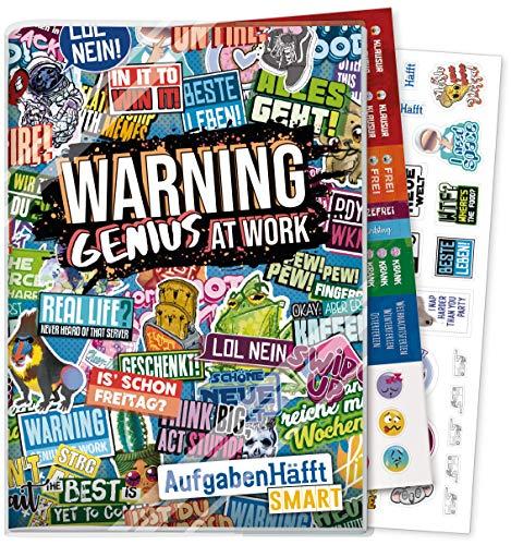 Häfft Smart Hausaufgabenheft A5 [Genius at Work] ohne Datum | Der Clou: immer sichtbarer Stundenplan! Inkl. Kunstoffumschlag + Sticker