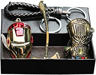 Marvel Avengers Metal Keychain Set (4PS)- Thor Hammer Infinity Gauntlet Iron Man Mask Key Chain for Family and Friends