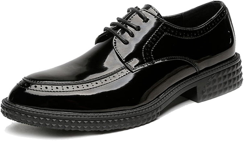 JIALUN-Schuhe Einfache Klassische Glatte lederne PU-Schuhe der Mnner schnüren Sich Oben Breathable Formale Geschfts-gegliederte Starke Auensohle Oxfords (Farbe   Schwarz, Gre   44 EU)