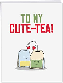 Funny Yummy Puns Valentine's Day Card with Envelope (Supersized 8.5 x 11 Inch) - Hilarious & Adorable Tea Lovers Pun for Wife, Husband - Valentines Greeting Card - Vday Stationery Gift J5659IVDG