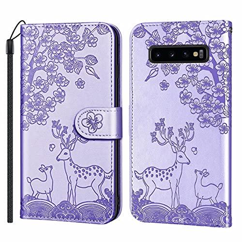 Miagon Gaufrage Fleur Coque pour Samsung Galaxy S10 Plus,Full Body Cerf Sika Modèle PU Cuir à Rabat Flip Housse Étui Magnétique Portefeuille Support Porte-Carte,Violet