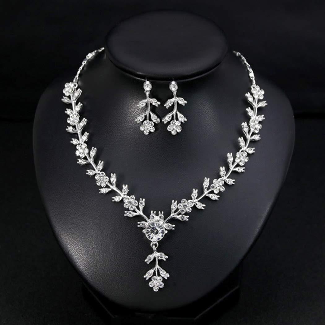 Aukmla Wedding Necklace Party Jewelry Event Jewelry Set Wedding Earrings Set Zirnia Bridal Necklace Bridal Earrings Set Wedding Jewelry Set