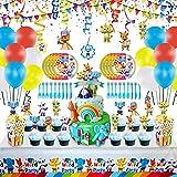 105 Piezas De Suministros Para Fiestas De Cumpleaños De Word Party, Decoraciones De Cumpleaños De Word Party, Favor De Fiesta Que Incluye Mantel, Vajilla, Pancarta, Caja De Palomitas