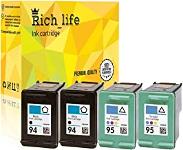 Rich_life Remanufactured Ink Cartridge Replacement for HP 94 C8765WN & HP 95 C8766WN for HP Printer Deskjet Officejet Photosmart PSC SERIES 4 Pack (2 Black, 2 Tri-Color)