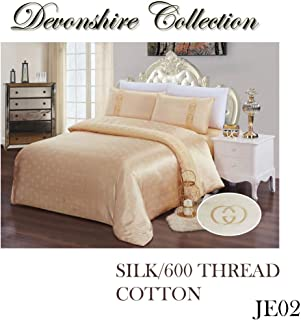 Devonshire Collection 600 Thread Count, 100% Cotton Queen Size 4PCs Bedding Set (Quilt Cover, Fitted Sheet, 2xPillow Case) Fits Mattress Up to 15'' Deep. Art No:JE02Q