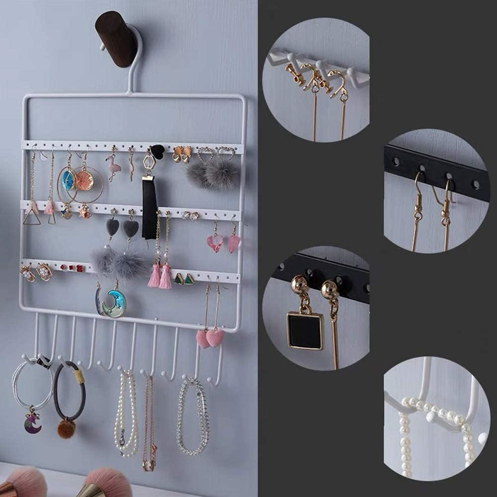 Bracelets Black Lace Hole Necklaces Rings Hanging Jewelry Space Saver lemonadeus Jewelry Hooks Storage Hanging Organizer,Earrings Holder Necklace Jewelry Display Stand 10 hooks//64hooks